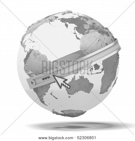 Globe with internet adress