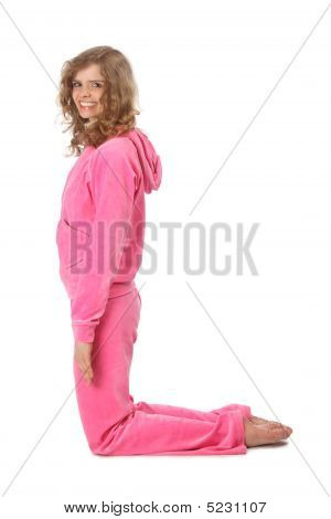 Girl In Pink Clothes Represents  Letter L