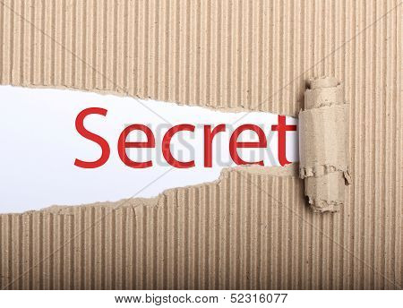 Secret Text On Paper And Torn Cardbox