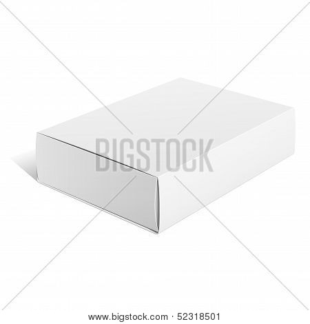 Realistic White Package carton Box. For Software, electronic device and other products. Vector illus