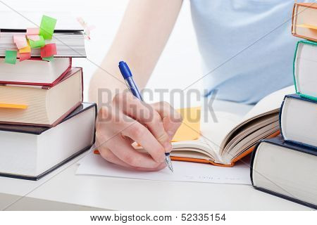 Student Doing The Notes