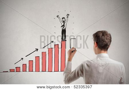 young businessman draws statistics