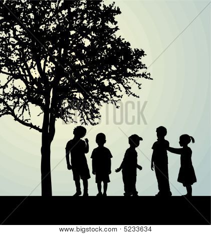 Children in a confidential interview under a tree poster