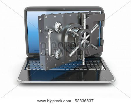 Internet security.Laptop and opening safe deposit box's door. 3d