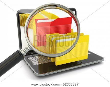 Search folder. Laptop, loupe and files. 3d