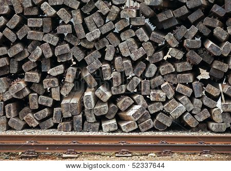 Pile Of Old Used Railways Sleepers