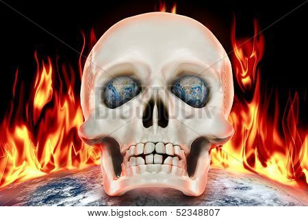 The Human Skull On A Background Of Planet Earth In Fire.
