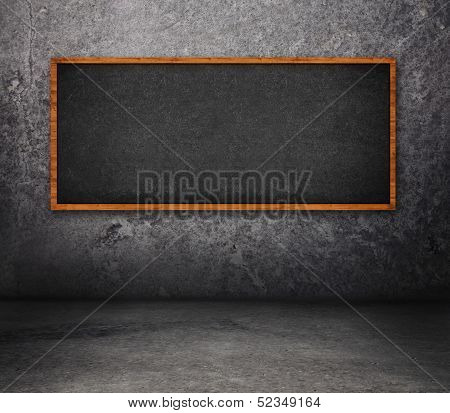 Concrete Room With Chalkboard