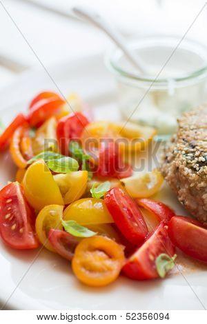 Chickenburger With Tomato Salad