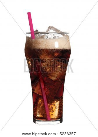 Glass Of Soda With Ice An Pink Straw