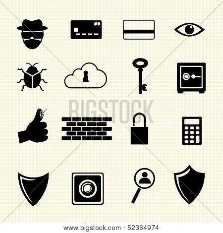 IT Security. Computer criminal icons set.