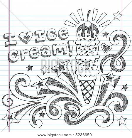 Ice Cream Cone Sketchy Back to School Vector Illustration Sketchy Notebook Doodles on Lined Sketchbook Paper