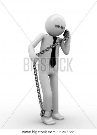 Hot Phone Line! Man Chained With Mobile Phone 1