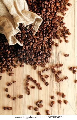 Coffee Beans And A Jute Sack
