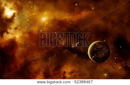 Illustration of an alien inhabited planet in space with two moons inside a nebula