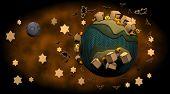 3D Render of Little craft halloween world poster