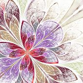 Beautiful fractal flower in beige violet and red. Computer generated graphics. poster