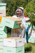 Portrait of beekeeper carrying honeycomb box while working at apiary poster