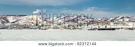 Panoramic view of Petropavlovsk-Kamchatsky seaport and power plant. Far East Russia poster