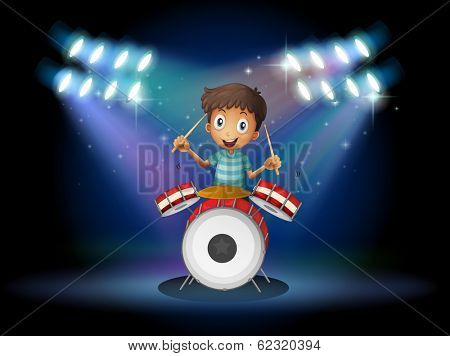 Illustration of a young drummer at the center of the stage