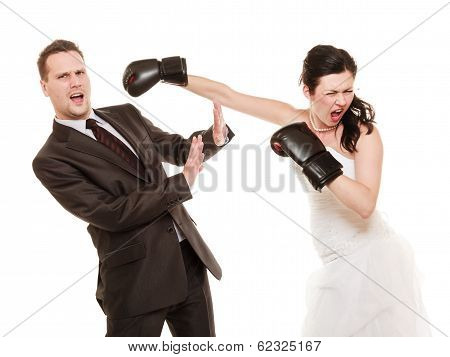 Wedding Couple. Bride Boxing Groom. Conflict.