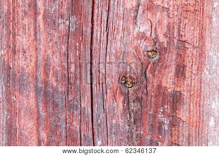 Old Worn Plank Wall With Cracked Old Red