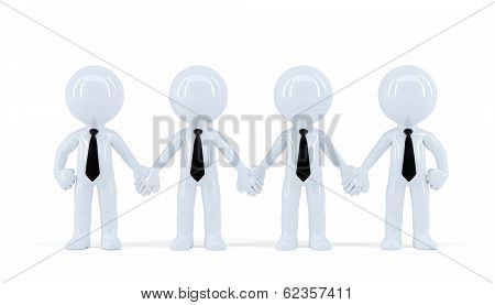 Group Of Heerful Businesspeople. Isolated. Contains Clipping Path