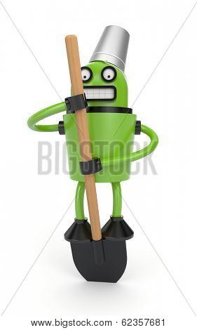 Robot with bucket and shovel