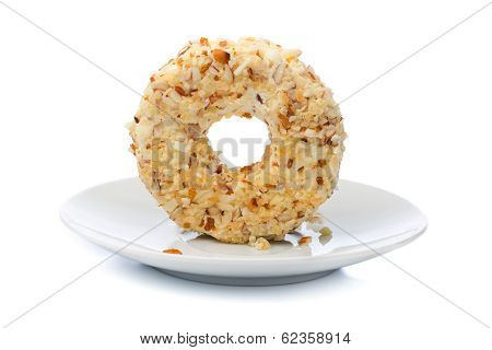 Round Sweet Dessert Cheese With Nuts And Pineapple.