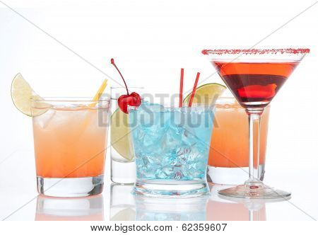 Cocktails Red Alcohol Cosmopolitan Cocktailini Cocktails Glass And Yellow Summer Margarita Isolated