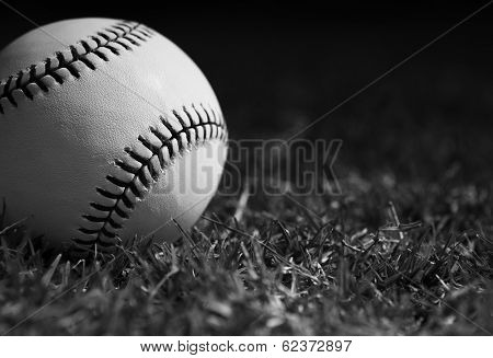 New Baseball Close Up in the Outfield Grass with room for Copy in Black and White
