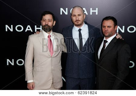 NEW YORK-MAR 26: (L-R) Writer Ari Handel, director Darren Aronofsky and producer Scott Franklin attend the premiere of