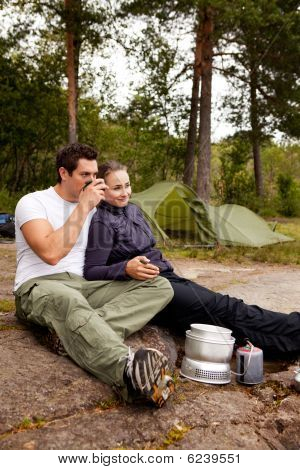 Camping Couple Cooking