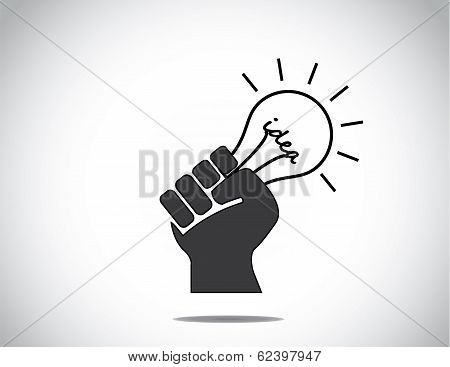 Human Hand Strongly Holding Idea Light Bulb Of Success Concept