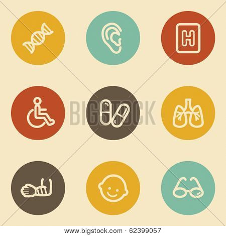 Medicine web icon set 2, retro circle buttons