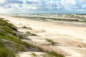 White sand beach. View to Baltic Sea Costline. Curonian Spit Nida Neringa Lithuania poster