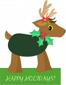 Here is a cute festive Holiday Reindeer. poster