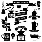 Coffee icons, labels, sticker with decorative design elements poster