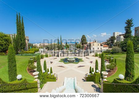 Beautiful picture of the Bahai Gardens in Haifa Israel.