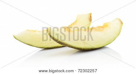 Piel De Sapo Pieces Of Green Melon Isolated White