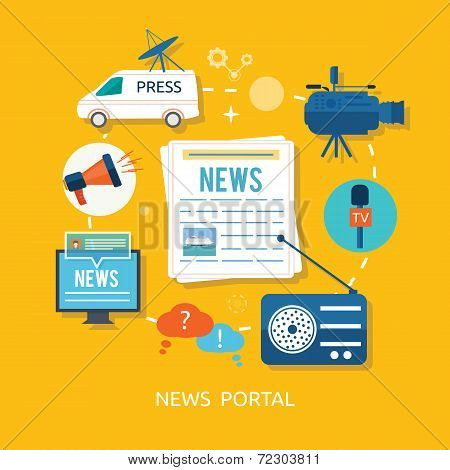 News Journalist With Microphone Interviewing In Flat Design
