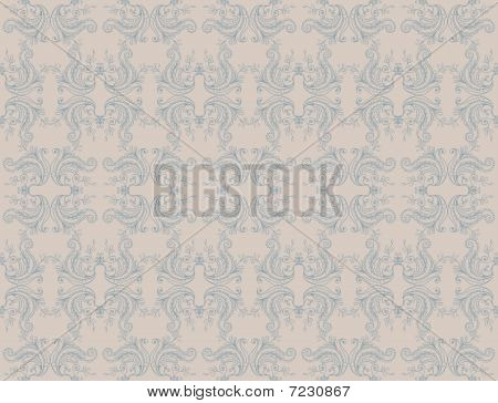 old-fashioned damask seamless wallpaper - vector illustration poster