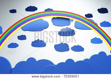 Cartoony Clouds and Rainbow