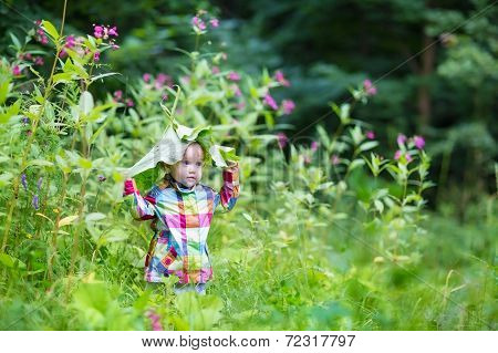 Funny Baby Girl Playing Peek A Boo In A Park Under Huge Leaves