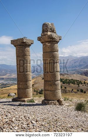 Funerary columns at Karakus for family of Mithridates in southeastern Turkey poster