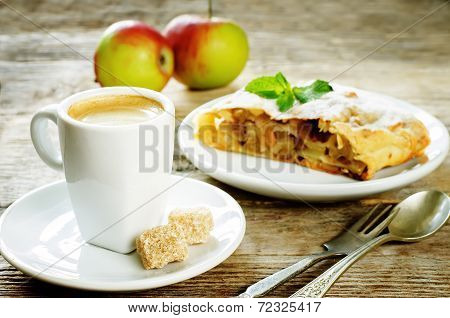 Cup Espresso Coffee With Cane Sugar And Apple Strudel