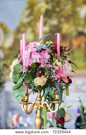 Floral Arrangement To Decorate The Wedding Feast, The Bride And Groom. Flowers, Candles, Vintage.