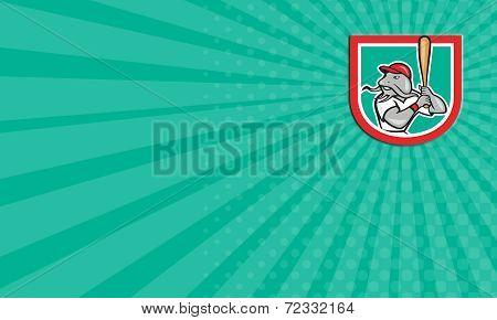 Business Card Catfish Baseball Hitter Batting Cartoon Shield