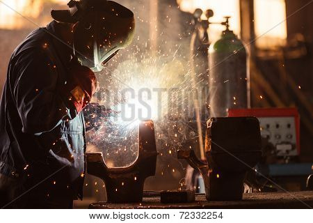 Industrial Worker at the factory welding closeup poster