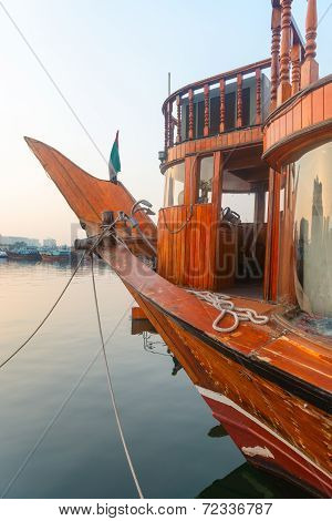 Big Wooden Boat Moored Up In A Port